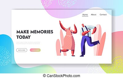 Senior Couple Dancing Sparetime. Elderly People Active Lifestyle, Old Man and Woman Spend Time Dance Together, Extreme Leisure. Website Landing Page, Web Page. Cartoon Flat Vector Illustration, Banner