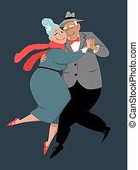 Senior couple dancing tango
