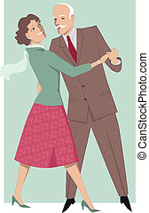 Senior couple dancing waltz