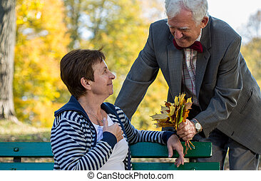 Senior couple dating in park at autumn