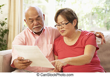 Senior Couple Discussing Document At Home