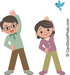Senior couple does gymnastics - Vector illustration.