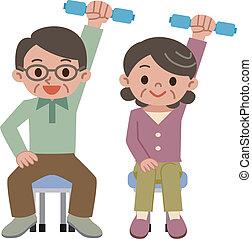 dumbbell exercise - Senior couple doing a dumbbell exercise....