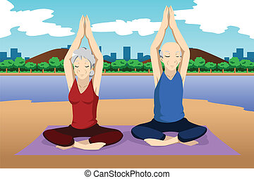 Senior couple doing yoga exercise - A vector illustration of...