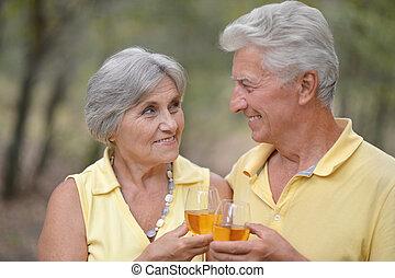 Senior couple drinking wine