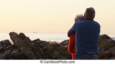 Senior couple embracing on beach 4k - Rear view of senior...
