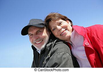 Senior couple enjoying a walk