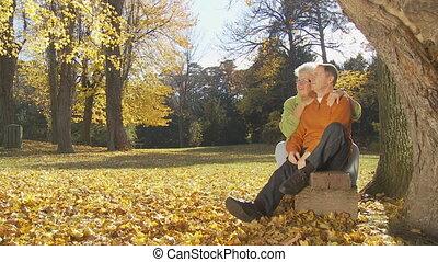 senior couple enjoying day in autumn part II - happy senior...