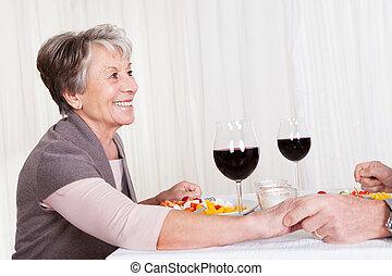 Senior Couple Enjoying Dinner Together