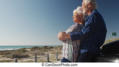 Senior couple enjoying free time - Low angle side view of a ...