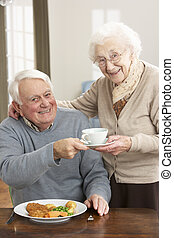 Senior Couple Enjoying Meal Together