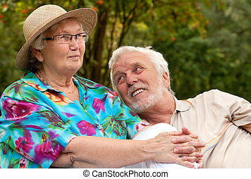 Senior couple enjoying the good weather
