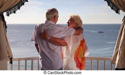 Senior couple enjoying their summer
