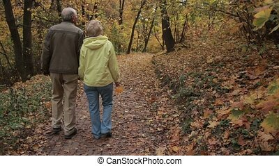 Senior couple enjoys romantic walk in autumn park - Romantic...