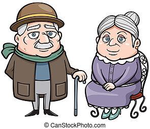 Senior couple - Vector illustration of Senior couple