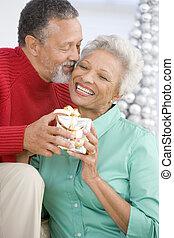 Senior Couple Exchanging A Christmas Gift
