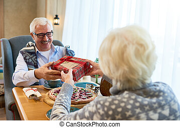 Senior Couple Exchanging Gifts on Christmas