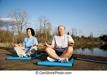 Senior couple exercise