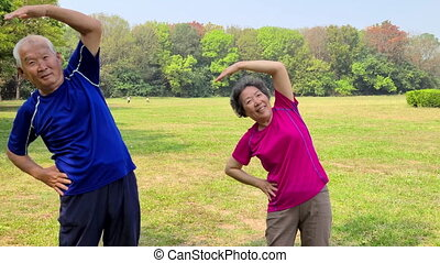 Senior  couple exercising outdoors at park