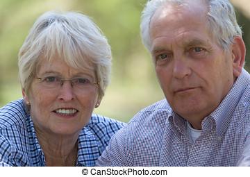 Senior couple (focus on woman, shallow dof)