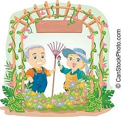 Senior Couple Garden
