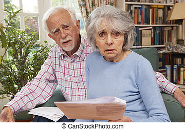 Senior Couple Going Through Finances Looking Worried
