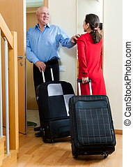 Senior couple going to holiday - mature couple of travelers...