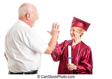 Senior Couple - Graduation High Five
