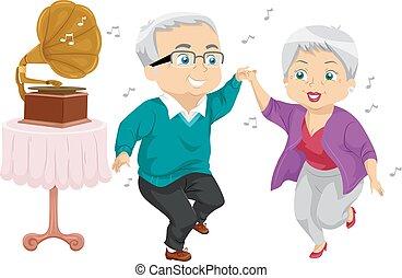 Senior Couple Gramophone Dance Illustration