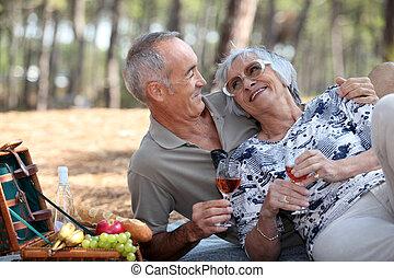 senior couple having a romantic picnic in the park