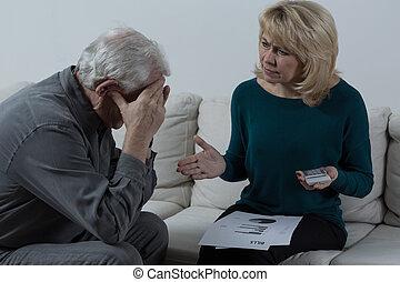Senior couple having financial troubles - Picture of senior...