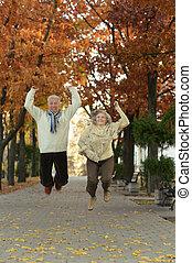 Senior couple having fun
