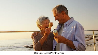 Senior couple having ice cream at promenade 4k - Happy...
