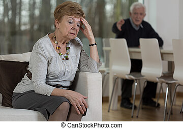 Senior couple having marital problems