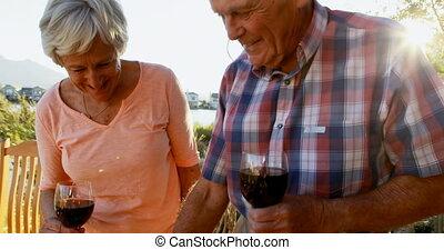 Senior couple having red wine in backyard 4k