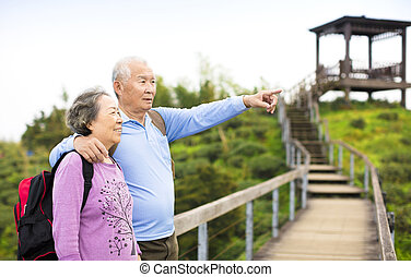 Senior Couple hiking in the mountain park