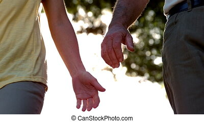 Senior couple holding hands on sunny day in slow motion