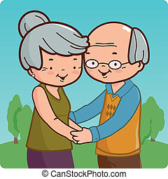 A happy senior couple at the park. Vector illustration