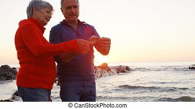 Senior couple holding seashell in the beach 4k - Senior...