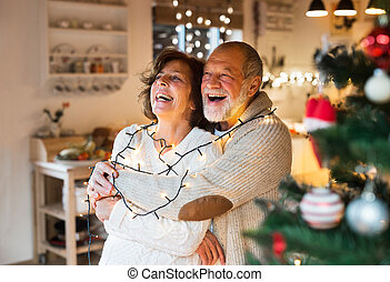 Senior couple hugging at home at Christmas time. - Beautiful...