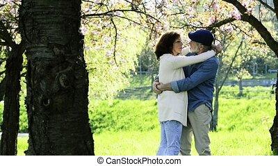 Senior couple hugging under the cherry blossom tree. -...