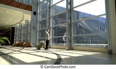 Senior couple in airport