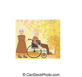 Senior couple in autumn day