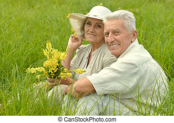 Senior couple  in  field