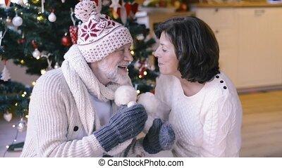 Senior couple in front of Christmas tree enjoying presents....