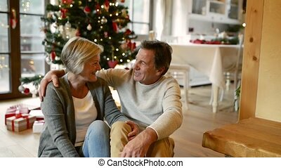 Senior couple in front of Christmas tree.