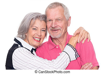 Senior couple  in front of white background