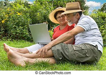 senior couple in garden
