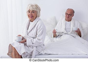 Senior couple in luxury hotel