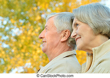 Senior couple in park
